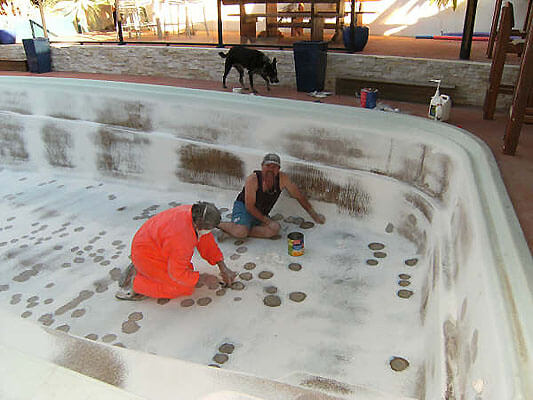 Fibreglass pool preparation