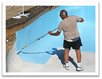 Painting swimming pool with epoxy pool paint
