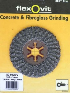 For grinding surfaces use a Zec Disc from Flex O vit. Available from Bunnings.